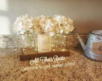 Rustic Lighted Centerpiece, Rustic Home Decor, Home Decor, Rustic Decor,  Rustic Wedding