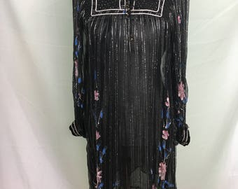 70's Made in India Festival Dress with Painted Sleeves
