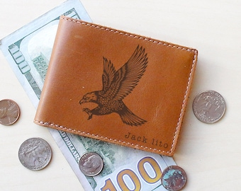 Slim Leather Wallet - Bifold Wallet - Personalized Mens Wallet