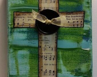 Cross Art, Mixed Media Cross, Hymn Collage Cross, Christian Art; Bookcase decor