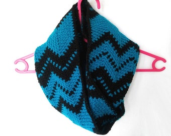 Crocheted Blue and Black Infinity Scarf