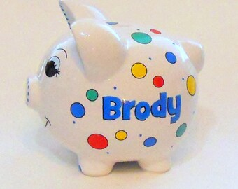 Personalized Piggy Bank with Polka Dots for a Boy