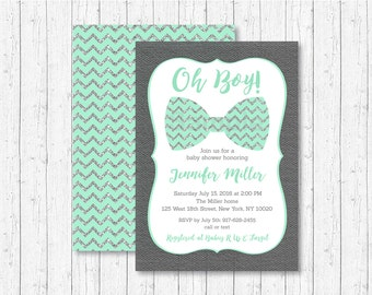 Cute Bow Tie Baby Shower Invitation / Bow Tie Baby Shower Invite / Oh Boy Baby Shower / Chevron Pattern / Mint & Silver / PRINTABLE A152