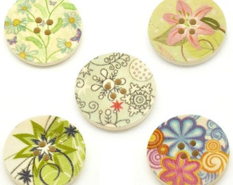 Set of 5 large buttons - 25 mm - various floral theme - 2 holes.