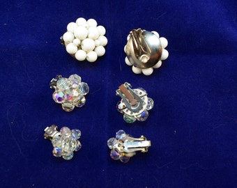 Set of 3 pairs of vintage clip on earrings! Retro/Vintage -- cluster/Flowers.