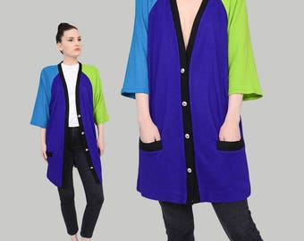 80s Color Block Cardigan | size S M L | Wool Knit Button Down Oversized Jacket Purple Lime Green Blue | One Size