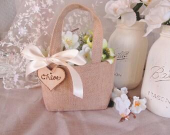 Burlap Flower girl basket. Rustic custom flower girl bag.  Shabby chic wedding accessory.