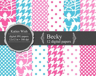 Becky digital paper kit 12x12 inch jpg files Instant Download