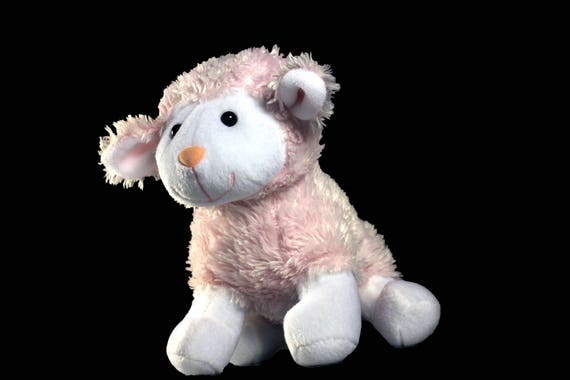 Plush Lamb, Stuffed Animal, Battat, Pink and White, Child's Gift Idea, Baby Shower, Nursery Decor