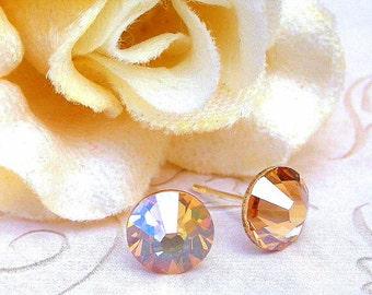 Golden Shadow stud earrings, 7mm Swarovski crystal golden shadow studs, 7mm champagne studs