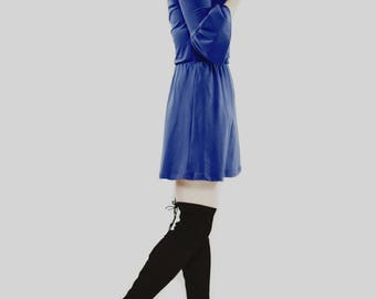 Bell-Sleeved tunic dress / boho tunic / 3/4 sleeve dress cotton dress tunic