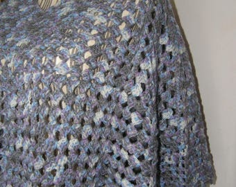 Blue Poncho, crocheted wool