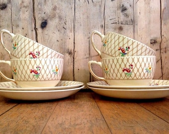 Victorian Johson Brothers Old English Trellis set of four tea cups and saucers made in England, vintage English China, fine china