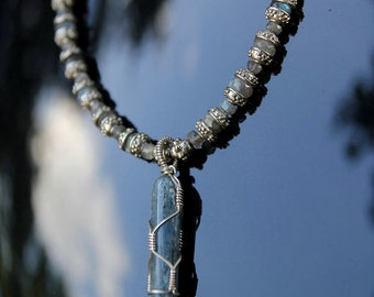 Kyanite Pendant on Labradorite & Silver Necklace