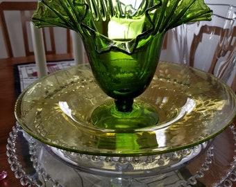 Green Vase with Ruffled Edge