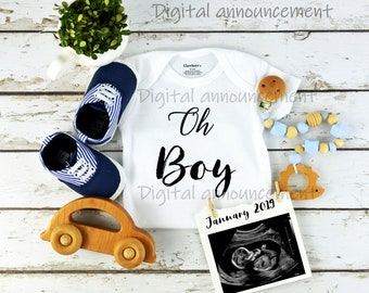 Custom Digital Gender Baby Boy Announcement