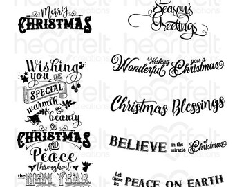 Heartfelt Creations Noel Sentiments Cling Stamp Set HCPC-3834