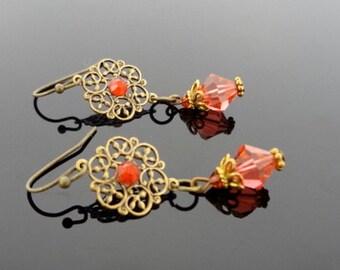 Eternal - Antiqued Brass Vintage Style Red Crystal Drop Earrings