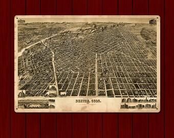 Vintage Denver, Colorado METAL Map 24x16
