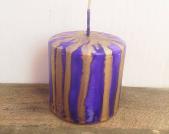 Candle Decor, Painted Candle, Purple and Gold, Alcohol Ink Candle, Christmas Decor, Pillar Candle