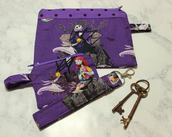 Nightmare Before Christmas Set of Two Zipper Pouches and Key Wristlet Zip Bags Keychain Fob Jack Skellington Purple Makeup Pencil Earbud