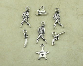 7 TierraCast Walking Dead Zombie Mix Pack Charms - Rick Negan Michonne Apocolypse - Silver Plated Lead Free Pewter - I ship Internationally