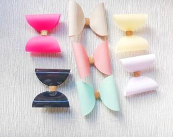 Pastel hair bows, pastel hair clips, spring hair bows, mint hair clips, girls hair bows, girls spring fashion, pink hair accessories