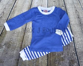 Monogrammed Royal Blue  and White Stripe Childrens Pajamas - Personalized Pjs - Hanukkah Pjs