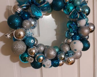 """Blue white and silver Hannukah wreath 16"""""""