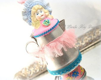 Girly Coffee Pot Art Doll Sculpture Little Girl Assemblage Cook Gift Kitchen Art Restaurant Decor