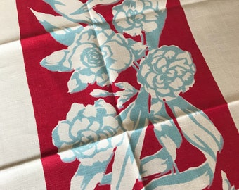 Early Vintage Linen Tablecloth~1930's~Red Blue & White Floral~Vibrant~EUC~Art Deco Flair