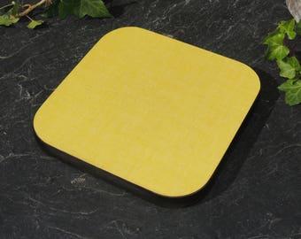 Original French formica trivet vintage yellow color