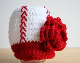 Baby Girl Baseball Hat, Newborn baseball hat, baby girl baseball cap, newborn photo prop, visor hat, Newborn to 12 month sizes available