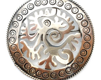 Sterling Silver Taxco Serpent Brooch Aztec Maya Mexican