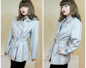 SALE 90s Clubkid Cyber Goth Grey Silver Shiny Sheen Belted Mac Jacket Millenium Button Up Pea Coat Jacket M / L