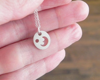 Mini Moon Necklace, Sterling Silver