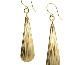 Chased Nu Gold Brass Long Tear Drop Earrings - Gold Toned Earrings - Handmade Jewelry for Women - Unique Gifts for Her