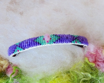 Beaded Hair Clip Glass Seed Beads Indian Bead Stitch Festival Boho Hippie Beaded Large Size Barrette Vegan Made By Hand