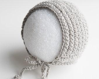 Grey Crochet Baby Hat Newborn Bonnet Photography Prop
