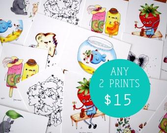 You Choose Any 2 Prints, Art Print Set, Set of 2 Prints, 2 5x7 Prints, Pick Any 2 Art Prints