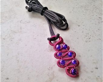 Handmade Wire Wrapped Pink Purple Beaded Snake Inspired Necklace