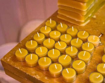 Beeswax Tea light Candles- 25-pack in clear plastic cups