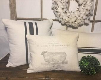 French grain sack pillow, grain sack pillow, sheep pillow, farmhouse pillows, pillow cover, farmhouse pillow covers, primitive decor