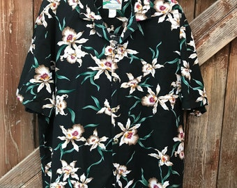 Vintage Paradise Found Honolulu Hawaii Mens Shirt Black & White Tropic Florals Size XL