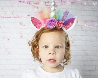 Rainbow Unicorn Headband - Girls Unicorn Headband - Adult Unicorn Headband - Child Unicorn Headband - Unicorn Costume -Unicorn Horn Headband  sc 1 st  Etsy & Unicorn costume unicorn horn headband unicorn gift flower