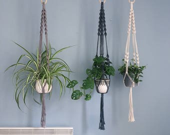 Double Spiral Macrame Plant Hanger / Hanging Planter / Natural Cotton, Black & Grey