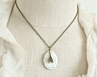 Oval Cream Paris Locket.  Eiffel Tower Charm Necklace.  Rustic Vintage Style Photo Keepsake.  Mother's Day.