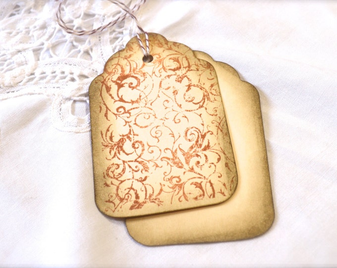 French Filagree Sepia Gift Tags, Wine Charms, Wedding Favor Tags, Vintage Look, Aged, Distressed,Wish Tree Cards, Bridal Shower Tags, 6 Tags