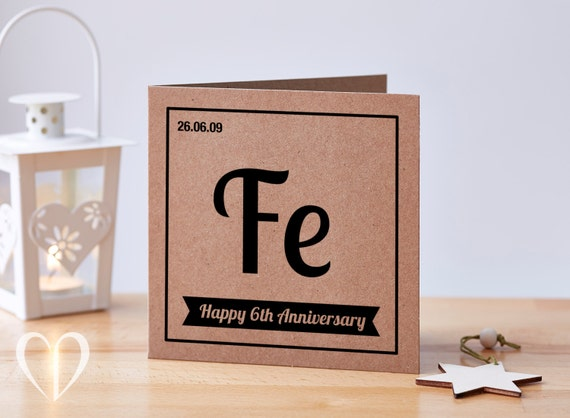 Iron Gifts For 6th Wedding Anniversary: Personalised 6 Year Anniversary Card 6th Anniversary Card