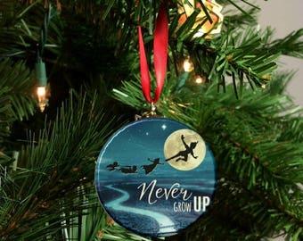 "Peter Pan Never Grow Up Image Christmas Tree 2.25"" Ornament -C"